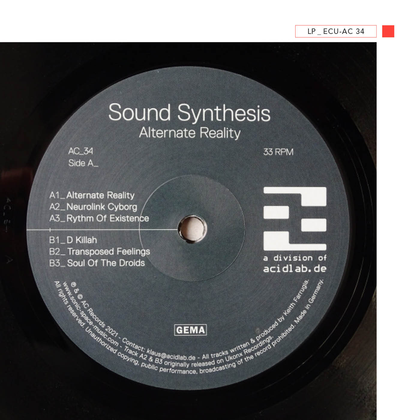 LP - ECU-AC 34 - Sound Synthesis - Alternate Reality (Black Vinyl)